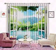 3d River View Blockout Photo Curtain Print Curtains Drapes Fabric Window Us