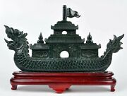 Natural Nephrite Jade Chinese Dragon Boat Statue / Carving Sculpture