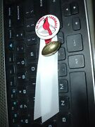 1960's St Louis Cardinals Pinback Pin 1 1/4 Diameter With Ribbons And Charm