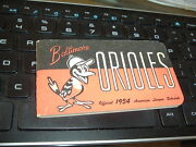 1954 Baltimore Orioles Spalding Pocket Schedule Booklet Inaugural Year