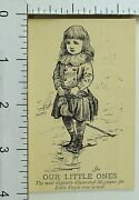 1870's-80's Our Little Ones Illustrated Magazine Cute Girl Horse Trade Card F74