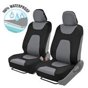 2pc Front Car Seat Covers 100 Waterproof Polyester/neoprene Black/gray 2tone