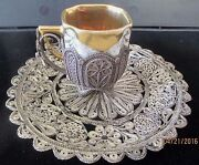 Vintage Chinese Handmade Sterling Silver Filigree Gold Cup And Saucer