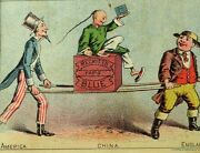 1870's-80's Reckitt's Paris Blue Uncle Sam China England Contest Trade Card F76