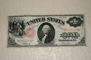 1917 1 One Dollar Large Bill Legal Tender Red Seal
