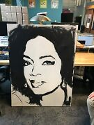 Tim Decker Bandw Original And Signed Oprah Large Painting 40 5/8th X 53 3/4th