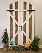 Rustic Farmhouse Country Arched Garden Gate Wood Metal Set/2 Door Wall Panels