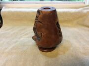Burl Wood Vase Sculpture Quality Handcrafted Art Vintage 8 inches tall