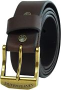 Leviand039s Menand039s 38mm Wide Beveled Edge Bridle Leather Belt Brown