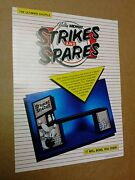 Bally/midway Strikes And Spares Shuffle Bowling Alley Flyer- Original And Rare