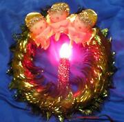 Mid Century Vtg Lighted Foil Xmas Wreath Embellished W 3 Angels And Foil Mesh