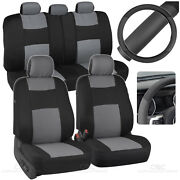 Black/gray Car Seat Covers For Auto W/ 2 Tone Pu Leather Steering Wheel Cover