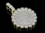 Solid 10k Yellow Gold Real Diamond Cluster Medallion Pendant Charm 3 1/5 Ct 1.6