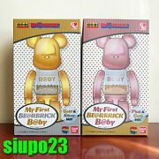 Medicom 200 Bearbrick My First Be@rbrick Baby Pink Gold And Gold Silver 2p