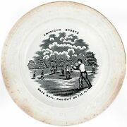 1860and039s Alphabet Childand039s Plate Base Ball Caught On The Fly Baseball Staffordshire