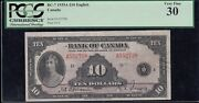 1935 Bank Of Canada 10 Canada's First Banknote - S/n A552738/d - Pcgs Vf30