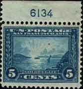 399 Top Plate 6134 1913 5c Pan-pacific Expo Issue Mint-nh-hinge Mark In Margin