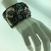 Heavy Vintage Navajo Hand Made Sterling Silver Turquoise Cuff Bracelet
