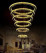 Dimming 6 Rings Modern Led Crystal Chandeliers Galaxy Villa Hall Ceiling Light