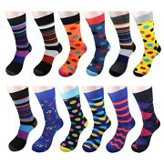 Gelante Menand039s Funky Fashion Dress Socks Casual Cotton 12 Pairs Size 10-13