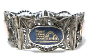 Military Trench Sweetheart Sterling Silver Filigree Gold Iran War Bracelet