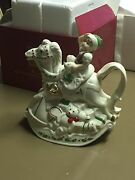 New- Lenox Holiday Elf And Rocking Horse Teapot- Retail 58.00