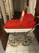 Vintage Peg Perego Stroller Carriage Combo. Red Velvet/white Leather 1970and039s