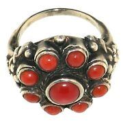 1724 Early 20th Century Turkish Silver And Coral Ring