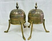 Antique Style Matching Pair Islamic Brass Incenses Burner Inlay Silver.