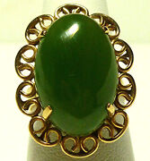 Antique Oriental China Chinese Export 14k Yellow Gold Jade Jadeite Oval Ring