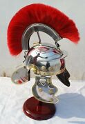 Roman Armor Centurion Officers Helmet Medieval Brass Accents With Red Plume