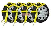 4 Pack Wheel Net Basket Auto Tow Dolly Straps W/ Snap Hooks No Ratchet