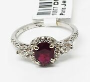 14k White Gold With 0.86 Ct Ruby And 0.51 Ct Diamond Ring