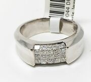 18k White Gold Five Row Invisible Setting Menand039s Ring 25 Stones Dia 1.10 Ct