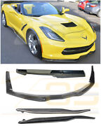 Z06 Stage 3 Carbon Front Lip + Side Skirts And Rear Spoiler For 14-19 Corvette C7