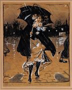Original Watercolor And Gouache On Paper By Grun Walking In The Rain 1900 Rare