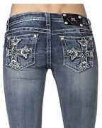 Miss Me Turquoise Cross Boot Cut Jeans Xp8174b Nwt