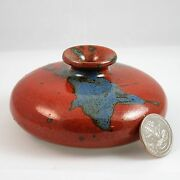 "Ikebana vase bowl 4"" round pottery artist signed rust and turquoise"