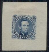 Us 116-e1i 10andcent Lincoln Die Essay Blue On 36x39mm Thick Greenish Gray Bond Paper
