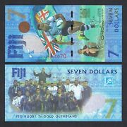2017 Fiji 7 Dollars P-120 Unc Ruby 7s Gold Medal Win Comm Az Replacement
