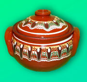 Traditional Bulgarian Pot With Lid (Gyuveche) Handmade Ceramics  Cooking Art