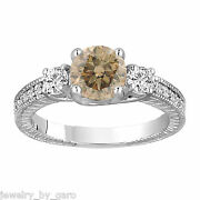 Fancy Champagne Diamond Engagement Ring Vintage Style Engraved 14k White Gold