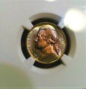 1950-d Nickel Ngc Ms65  Monster Double Sided Toned