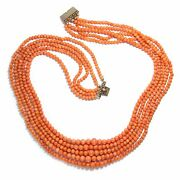 Italy Um 1930 Antique 5 Rows Coral Chain Coral Necklace