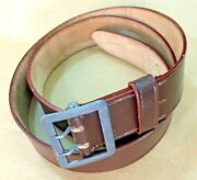 German Wwii Brown Leather Officers Belt W. Claw Buckle Marked All Sizes