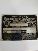 Serial Tag - Packard Motor Car Co With Delivery Information City And Date