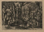 1585 2-set Engravings John The Baptist And The Baptism Of Jesus Bible Antique