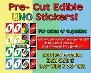 Edible Uno Cards Cake Stickers Cut Outs Side Of Cake Sugar Topper Cupcakes Easy