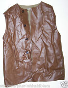 British Brown Naugahyde And Wool Jerkin Size 3 Or Us Xl 117 Cm Chest Each M6456
