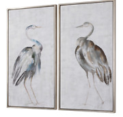 Horchow Z Gallerie Framed Wall Art Birds Transitional Coastal Set Of Two Xl 47